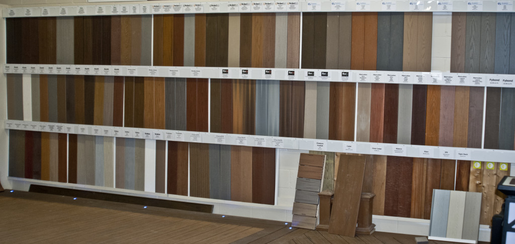 Low maintenance material options at The Deck Store showroom in Oakville, Ontario